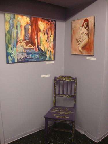 La femme poetry chair on display
