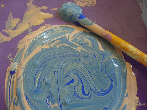 Paint in purple palette
