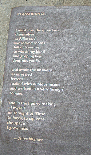 "A photo of Alice Walker's Poem ""Reassurance"" on the Berkeley Poetry Walk"