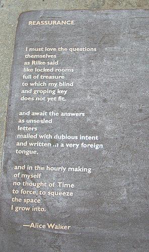 "A photo of Alice Walker's Poem ""Reassurance"" on the Berkeley Poetry Walk"