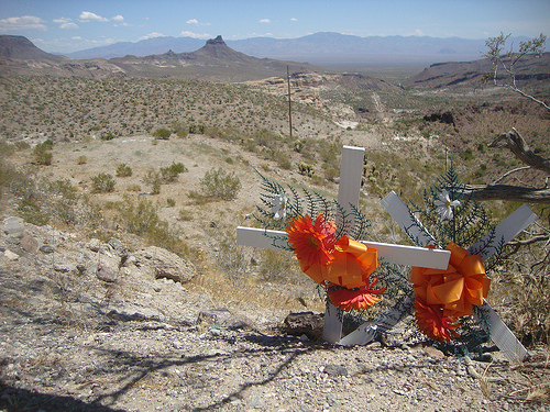 Crosses on a drop, route 66