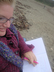 Small writing on the beach me