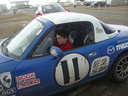Samuel in his cousin's car