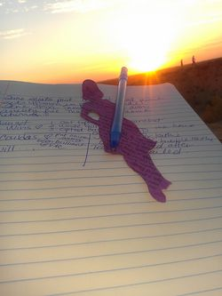 Aug 21 notebook pen and sunset