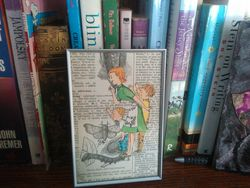 Collage on a Book Shelf, so you can see the size in relationship to books.