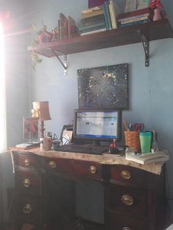 My Writing Oasis, My Sanctuary in the corner of the living room. Painting by Nyoka Jameson