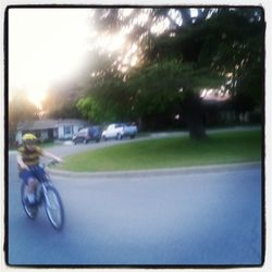 Samuel riding his bicycle March 2013