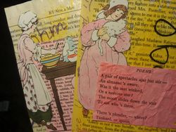 When I am not writing words, sometimes working on mixed media with book pages helps....