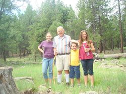 Grandpa and kids geocaching in Flagstaff