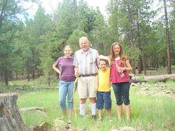 Grandpa and kids geocaching in Flagstaff