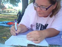 Writing at the park