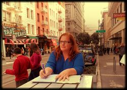 Writing poetry on powell st in San Francisco.