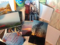 Everyday index cards provide backing for your new and unique postcards.