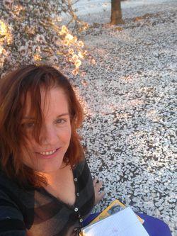 Sitting under an Almond Tree. Bakersfield, California