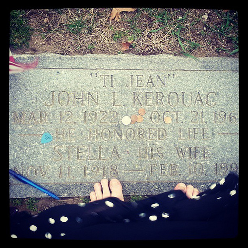 Jack Keroac's Grave in Lowell, Massachusetts. (I left the change. Do you see the guitar pick--)