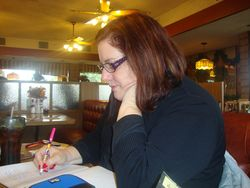 Writing longhand pink nails