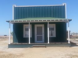 This is the first building you see in Allensworth, Johnson's Bakery - a woman owned business!