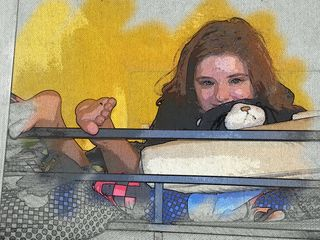 Emma, Samuel and Pillow Pet on the Top Bunk