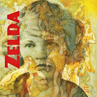 Zelda Fitzgerald overlaid with one of the paintings she did she was institutionalized.