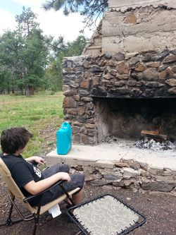 "Samuel enjoys the fire the Campers built at ""our"" spot. Lovely!"