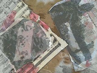 Images of my mixed media pieces in process. Love it, annoyed by it...Mixed media in the works