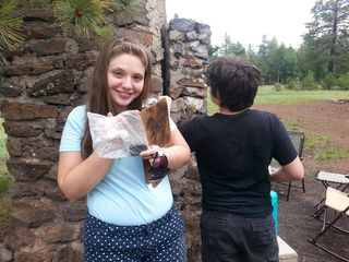Happy Jack - Katherine shows the geocache