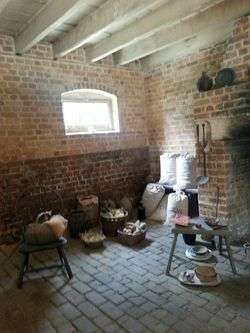 The kitchen in the slaves quarter was filled with foods rationed by the Washingtons.