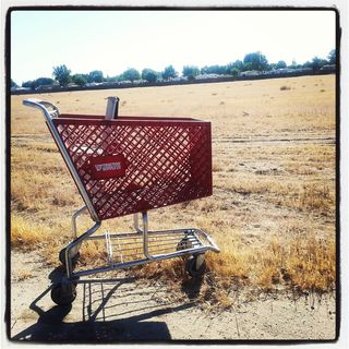 A rare sight: an abandoned shopping cart in the northwest. In a vacant lot, naturally and oh, so Bakersfield to be from The Tractor Supply Store.