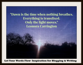 """Blogging & Writing Prompts plus striking image for """"Dawn is the time when nothing breathes. Everything is transfixed. Only the light moves."""" Leonora Carrington"""