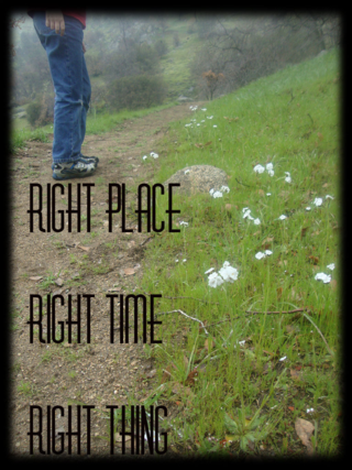 Enjoy the path you are on: right place, right time, right thing.