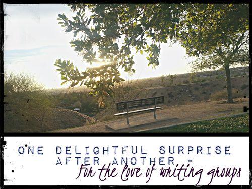 Bluffs at sunset writing