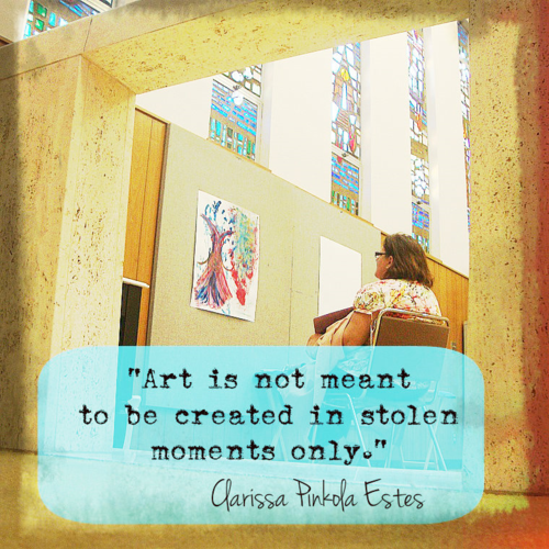 "The Passionate Writer Series: ""Art is not meant to be created in stolen moments only"" Clarissa Pinkola Estes - Quotes, Prompts and More for Your Blogging, Writing & Creative Inspiration."