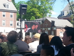 Ruth J. Simmons speaking, as seen over the Jumbotron this weekend at the Smith College commencement this weekend.