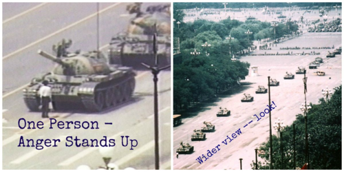 Tank Man: This is what conscious anger looks like in my mind.