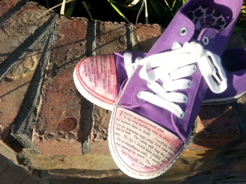 Shoes mixed media with Emily Dickinson poetry