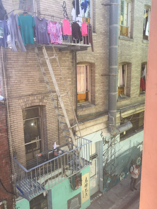 The view from the window in the poetry room at City Lights, looking out on Jack Kerouac Alley