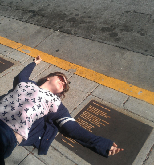 Visual proof she is my child: Emma, ecstatic at the Berkeley Poetry Walk