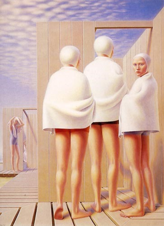 """Bathers"" by George Tooker. Inspiration from Magpie Tales weekly writing prompt."