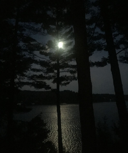 What a view: the moon set on November 27, 2015 at Lake Sunipee