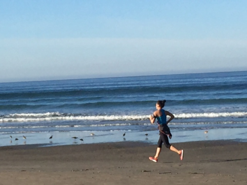 Iconic California image: jogger on the beach. She unknowingly inspired me.