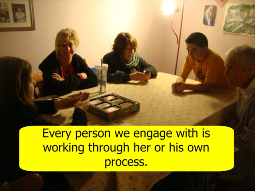 Step One: Remember every person we engage with is working through her or his own process. It isn't ours to own.