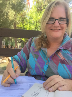 I even write when at amusement parks: here I am at Magic Mountain!